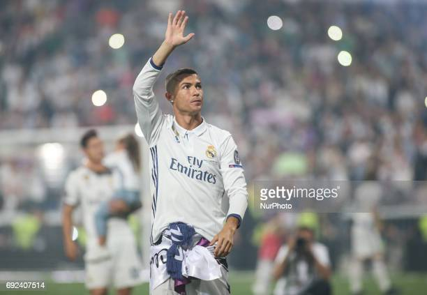Real Madrid's forward Cristiano Ronaldo celebrates the team's win at the Santiago Bernabeu stadium in Madrid on June 4 2017 after winning the UEFA...