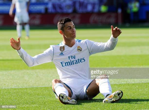 Real Madrid's forward from Portugal Cristiano Ronaldo gestures during the Spanish league football match Deportivo Alaves vs Real Madrid CF at the...