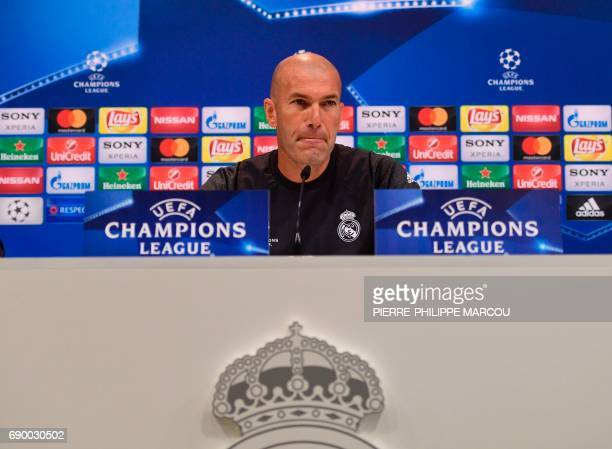 Real Madrid's French coach Zinedine Zidane attends a press conference at Valdebebas Sport City in Madrid on May 30 2017 during the Media Day prior to...
