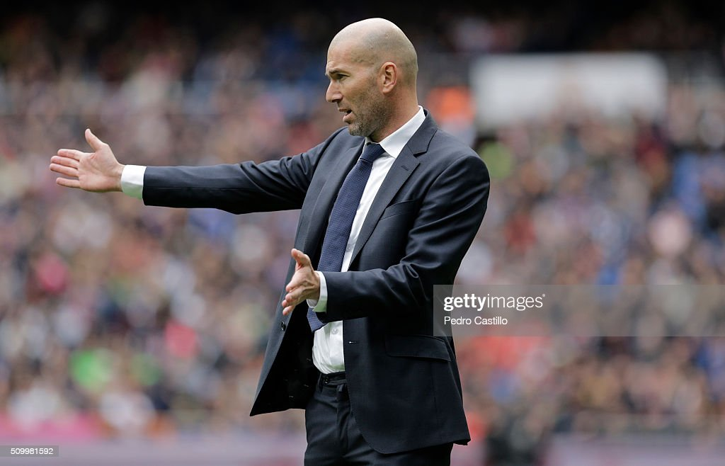Real Madrid's French coach <a gi-track='captionPersonalityLinkClicked' href=/galleries/search?phrase=Zinedine+Zidane&family=editorial&specificpeople=172012 ng-click='$event.stopPropagation()'>Zinedine Zidane</a> gestures during the La Liga match between Real Madrid CF and Athletic Club at Estadio Santiago Bernabeu on February 13, 2016 in Madrid, Spain.