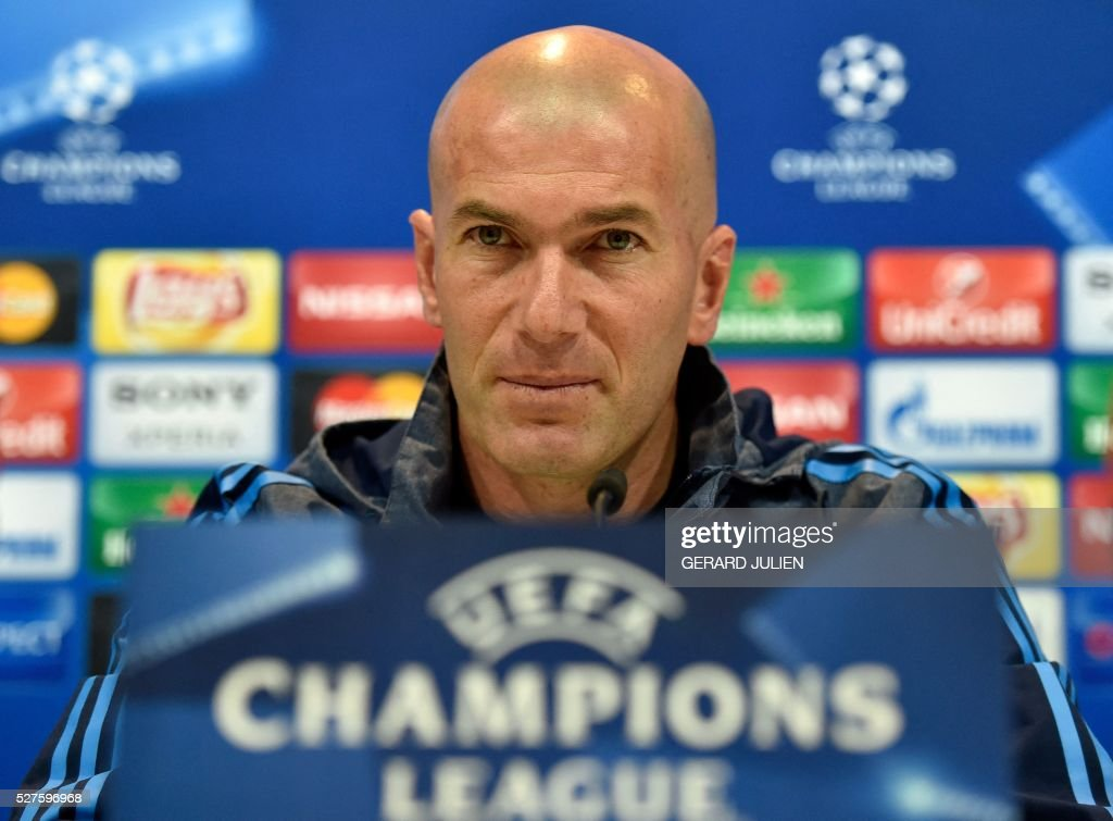 Real Madrid's French coach Zinedine Zidane listens a question during a press conference at Valdebebas training ground in Madrid on May 3, 2016, on the eve of the UEFA Champions League semi-final second leg football match between Real Madrid CF and Manchester City. / AFP / GERARD