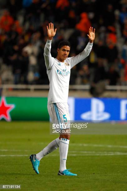 Real Madrid's French defender Raphael Varane gestures at the end of the UEFA Champions League Group H match between Apoel FC and Real Madrid on...