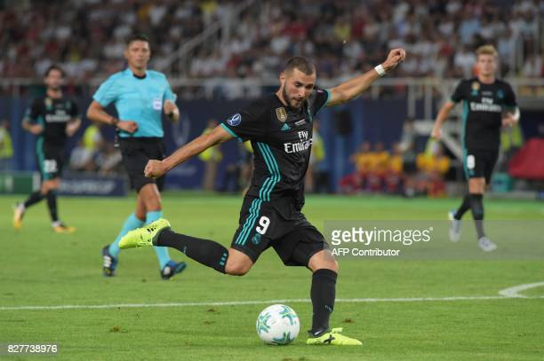 Real Madrid's French forward Karim Benzema kicks the ball during the UEFA Super Cup football match between Real Madrid and Manchester United on...