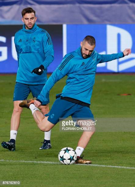 Real Madrid's French forward Karim Benzema takes part in a training session at the GSP Stadium in the Cypriot capital Nicosia on November 20 on the...