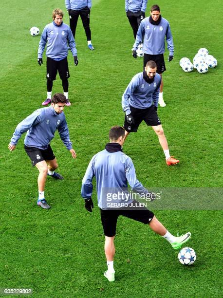 Real Madrid's French midfielder Enzo Zidane Real Madrid's Portuguese defender Fabio Coentrao Real Madrid's Portuguese forward Cristiano Ronaldo Real...