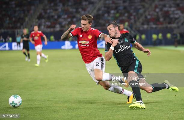 Real Madrid's Gareth Bale and Manchester United's Victor Lindelof battle for the ball during the UEFA Super Cup match at the Philip II Arena Skopje...