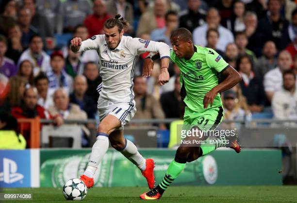 Real Madrid's Gareth Bale and Sporting Lisbon's Marvin Zeegelaar battle for the ball