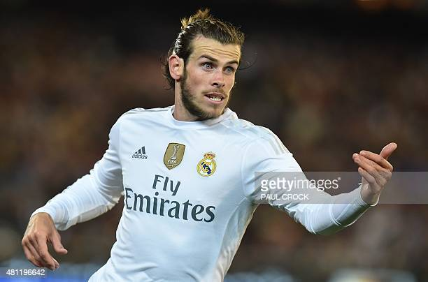 Real Madrid's Gareth Bale gestures during the International Champions Cup football match between Real Madrid and AS Roma in Melbourne on July 18 2015...