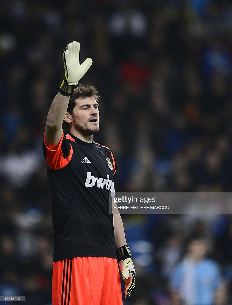 Real Madrid's goalkeeper and captain Iker Casillas gestures during the Spanish Copa del Rey (King's Cup) football match Real Madrid CF vs RC Celta de Vigo at the Santiago Bernabeu stadium in Madrid on January 9, 2013.