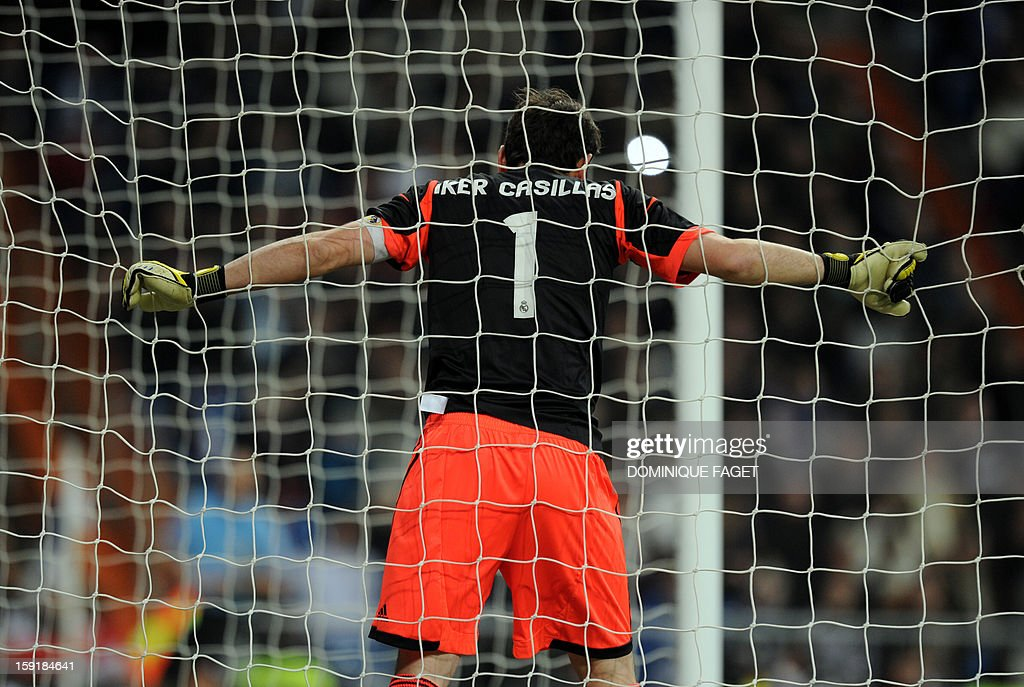 Real Madrid's goalkeeper and captain Iker Casillas reacts during the Spanish Copa del Rey (King's Cup) football match Real Madrid CF vs RC Celta de Vigo at the Santiago Bernabeu stadium in Madrid on January 9, 2013.