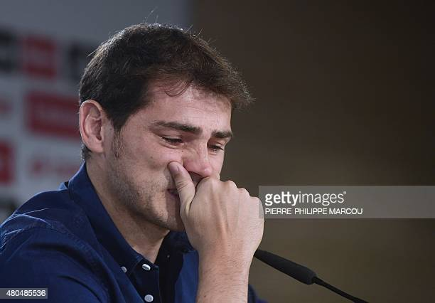 Real Madrid's goalkeeper Iker Casillas cries as he gives a press conference at the Santiago Bernabeu stadium in Madrid on July 12 2015 Real Madrid's...