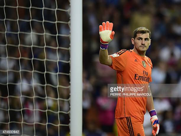 Real Madrid's goalkeeper Iker Casillas gestures during the Spanish league football match Real Madrid CF vs Getafe CF at the Santiago Bernabeu stadium...