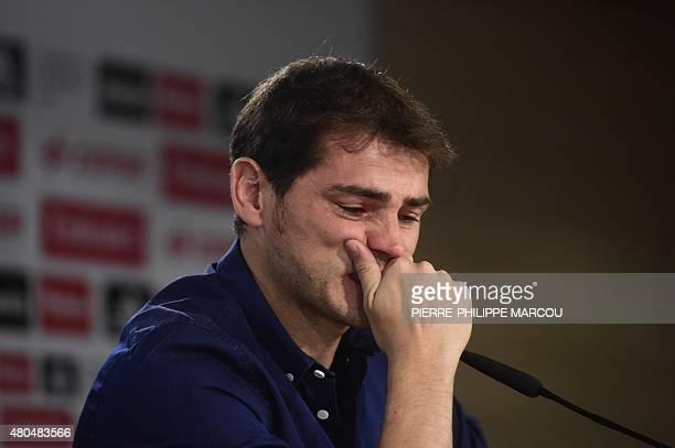 Real Madrid's goalkeeper Iker Casillas reacts as he gives a press conference at the Santiago Bernabeu stadium in Madrid on July 12 2015 Real Madrid's...