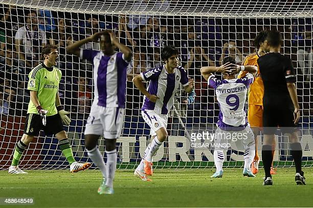 Real Madrid's goalkeeper Iker Casillas reacts during the Spanish league football match Real Valladolid FC vs Real Madrid CF at Jose Zorilla stadium...