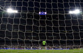 Real Madrid's goalkeeper Iker Casillas stands on the pitch as the scoreboard reads 10 for the Real Madrid 5 minutes before end of the first halftime...