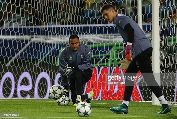 Real Madrid's goalkeeper Keylor Navas from Costa Rica in action during warm up before the start of the UEFA Champions League match between Sporting...
