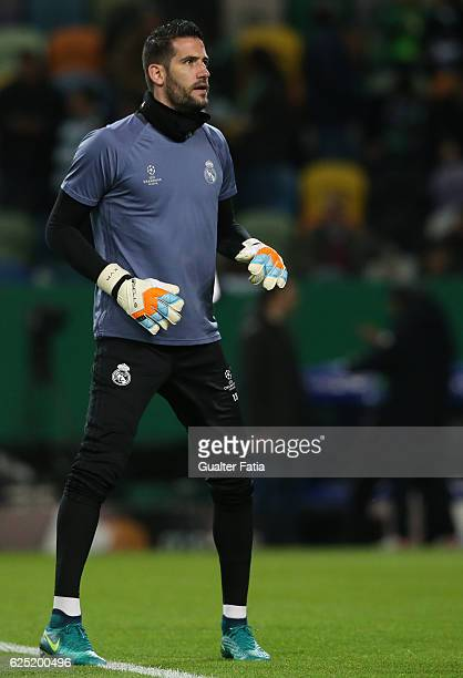 Real Madrid's goalkeeper Kiko Casilla from Spain in action during warm up before the start of the UEFA Champions League match between Sporting Clube...