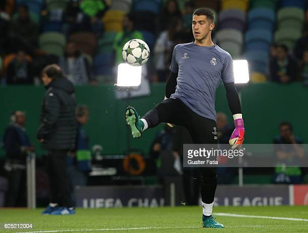 Real Madrid's goalkeeper Ruben Yanez from Spain in action during warm up before the start of the UEFA Champions League match between Sporting Clube...