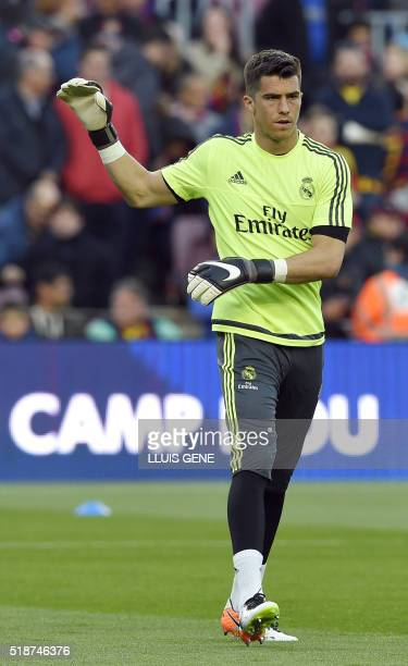 Real Madrid's goalkeeper Ruben Yanez warms up before the Spanish league 'Clasico' football match FC Barcelona vs Real Madrid CF at the Camp Nou...