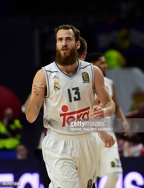 Real Madrid's guard Sergio Rodriguez celebrates a point during the Euroleague group F Top 16 round 1 basketball match Real Madridvs Brose Baskets...