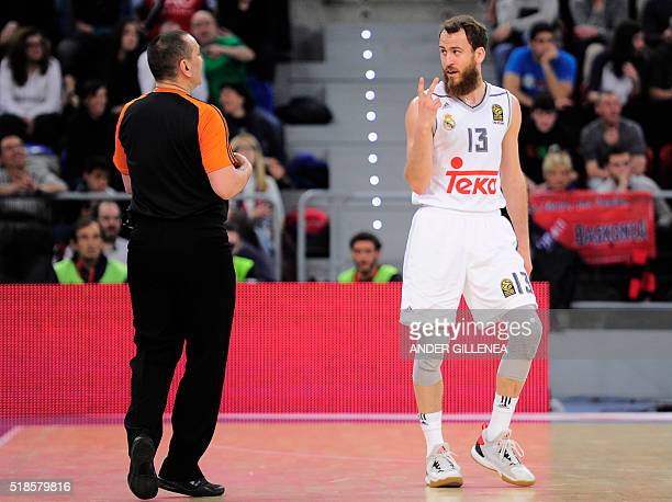 Real Madrids guard Sergio Rodriguez speaks with referee during the Euroleague group E top 16 round of 13 basketball match Laboral Kutxa Vitoria vs...