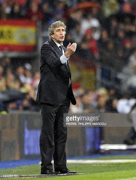 Real Madrid's head coach Manuel Pellegrini gestures during a Spanish League football match against Athletic Bilbao at Santiago Bernabeu stadium in...