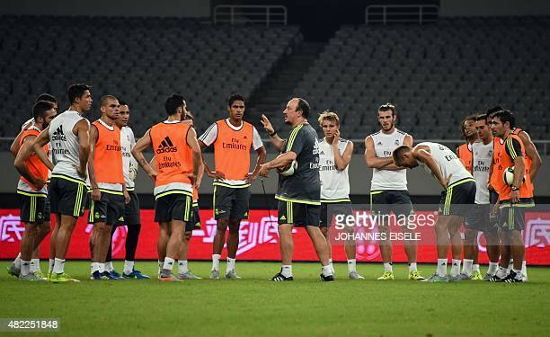 Real Madrid's head coach Rafael Benitez attends a training on the eve of the International Champions Cup football match between AC Milan and Real...