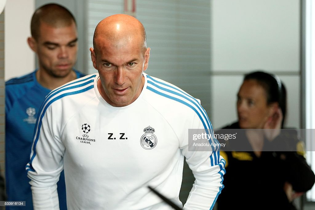 Real Madrid's head coach Zinedine Zidane arrives to attend a press conference ahead of UEFA Champions League final football match between Atletico Madrid and Real Madrid CF in Madrid, Spain on May 24, 2016.
