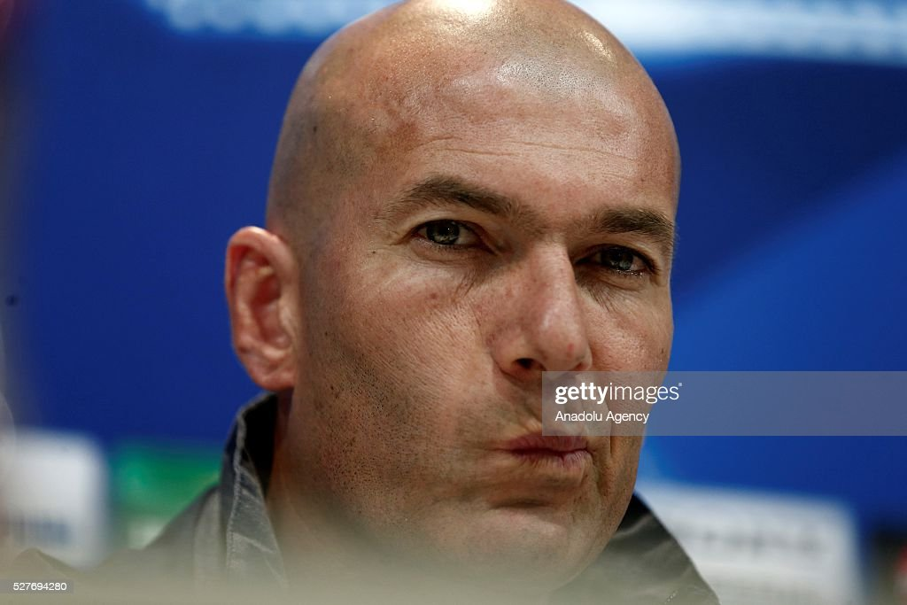 Real Madrid's head coach Zinedine Zidane delivers a speech during a press conference ahead of UEFA Champions League semi-final second leg football match between Real Madrid CF and Manchester City in Madrid, Spain on May 3, 2016.