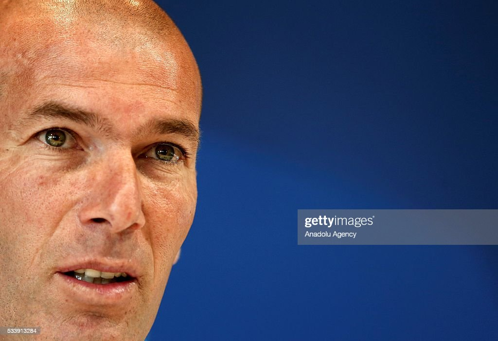 Real Madrid's head coach Zinedine Zidane gestures during a press conference ahead of UEFA Champions League final football match between Atletico Madrid and Real Madrid CF in Madrid, Spain on May 24, 2016.