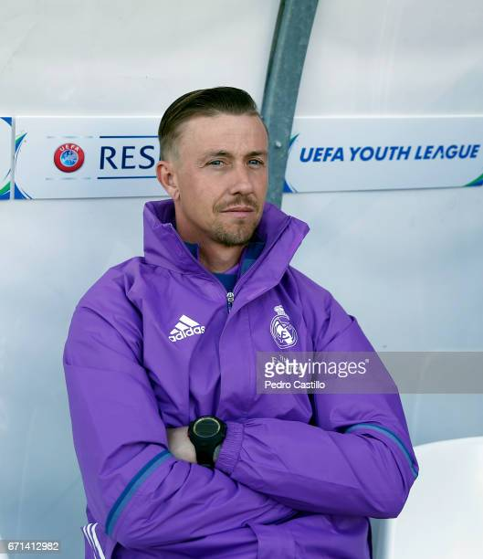 Real Madrid's headcoach Jose Maria Gutierrez looks on during the UEFA Youth League Final Four match between Real Madrid CF and Benfica at Colovray...
