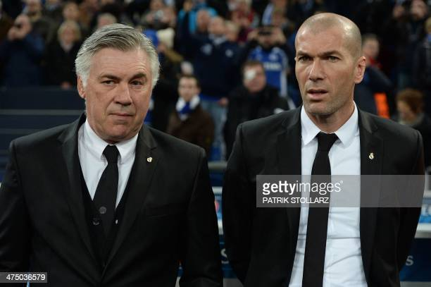 Real Madrid's Italian coach Carlo Ancelotti and Real Madrid's assistant manager Zinedine Zidane arrive prior to the firstleg round of 16 UEFA...