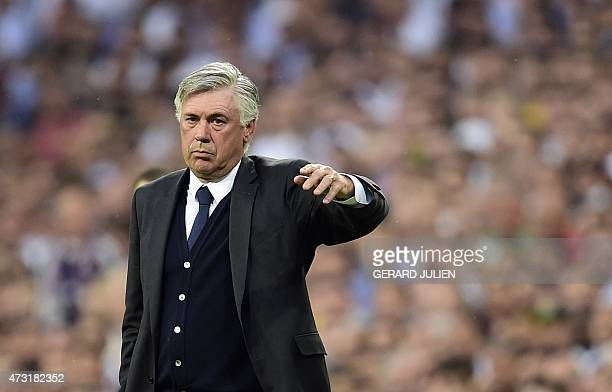 Real Madrid's Italian coach Carlo Ancelotti gestures during the UEFA Champions League semifinal second leg football match Real Madrid FC vs Juventus...