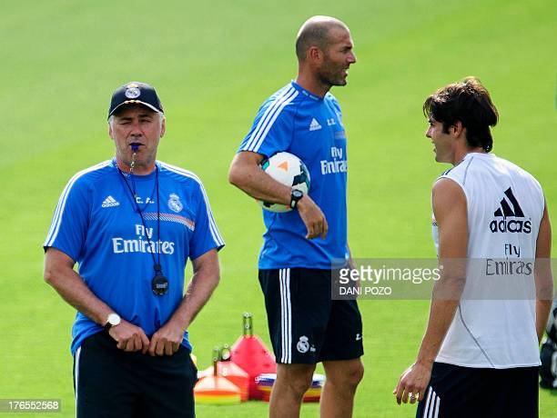 Real Madrid's Italian coach Carlo Ancelotti Real Madrid's French assistant coach Zinedine Zidane and Real Madrid's midfielder Kaka take part in a...
