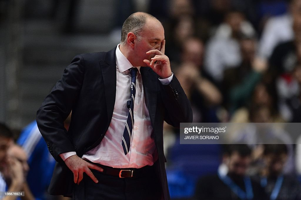 Real Madrid's Italian head coach Pablo Laso reacts during the Euroleague basketball match Real Madrid vs BC Khimki Moscow at the Palacio de los Deportes in Madrid on November 23, 2012.