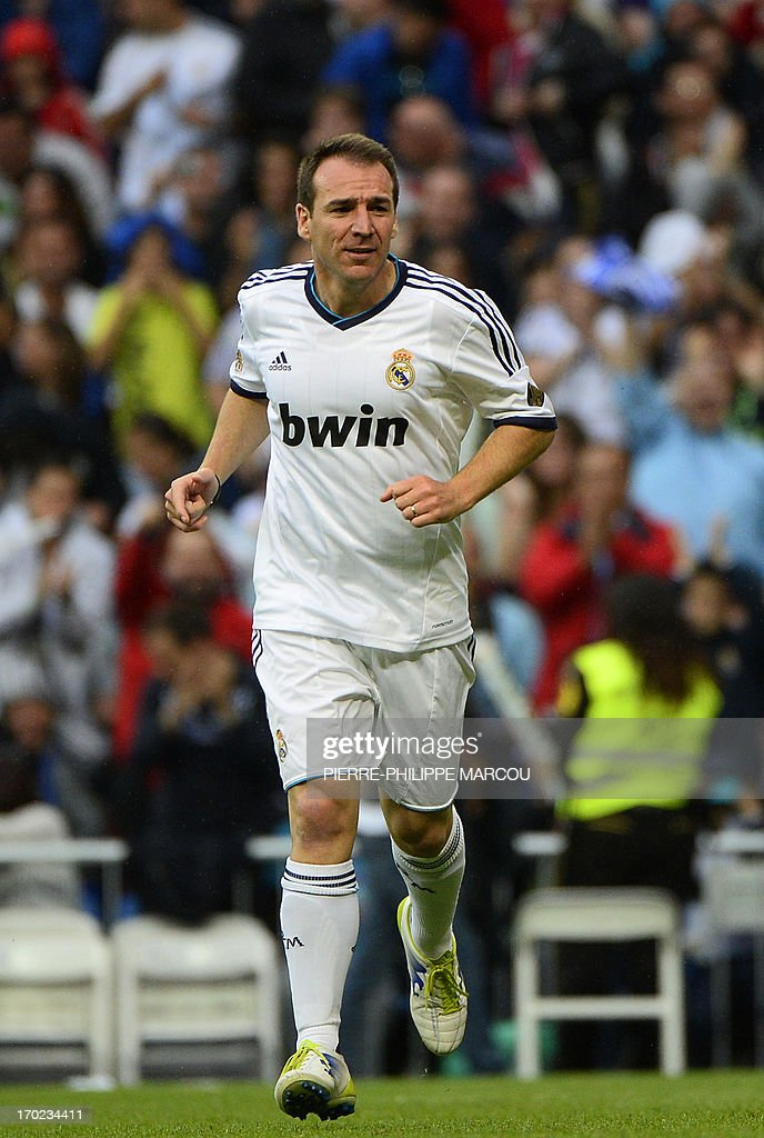 Real Madrid's Ivan Perez celebrates after scoring during the Corazon Classic Match 2013 - Veracruz charity football match Real Madrid Legends vs Juventus Turin Veterans at the Santiago Bernabeu stadium in Madrid on June 9, 2013.