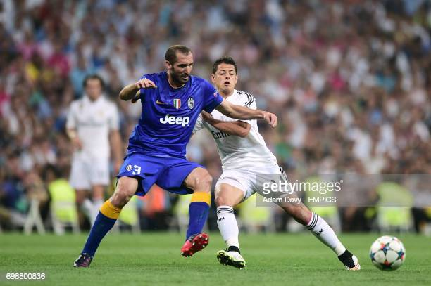 Real Madrid's Javier Hernandez and Juventus' Giorgio Chiellini battle for the ball