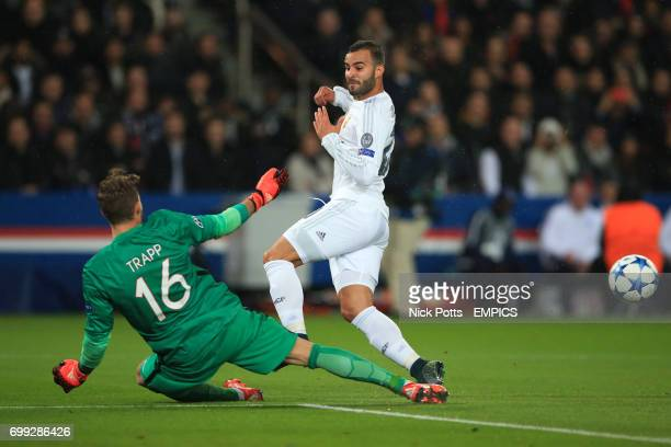 Real Madrid's Jese has his shot saved by Paris Saint Germain goalkeeper Kevin Trapp