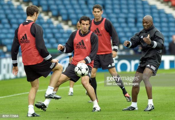 Real Madrid's Luis Figo in training at Glasgow's Hampden Park stadium in advance of the Champion's League final match