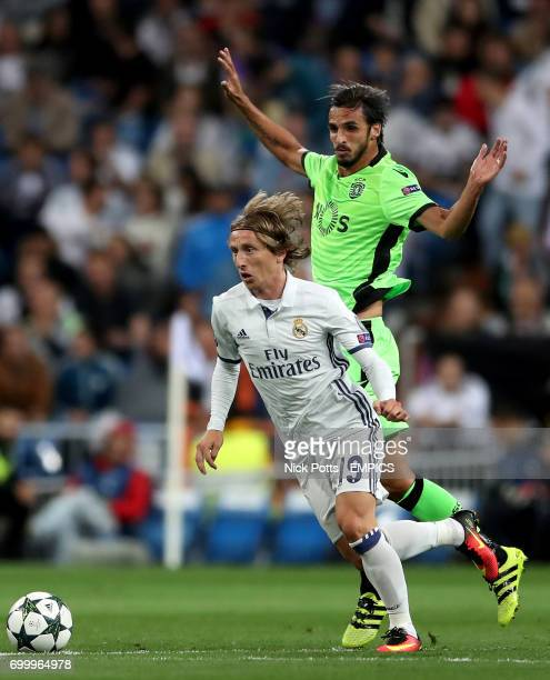Real Madrid's Luka Modric and Sporting Lisbon's Bryan Ruiz battle for the ball