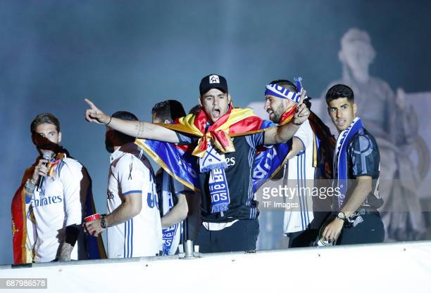 Real Madrid´s Álvaro Morata Sergio Ramos Marco Asensio and other arrive at the city hall of Madrid to offer the league cup to Madrid mayor Manuela...