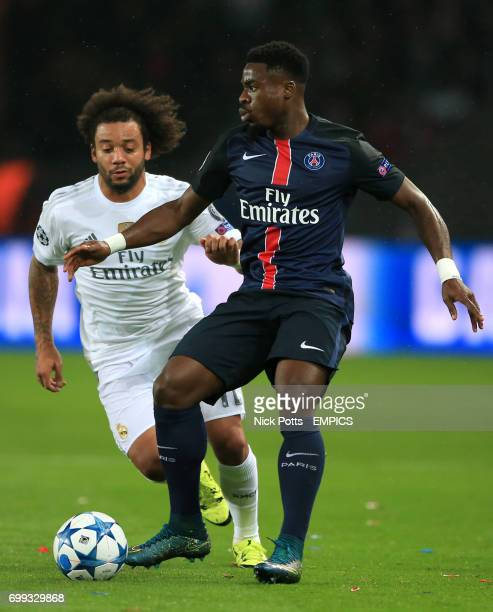 Real Madrid's Marcelo and Paris SaintGermain's Serge Aurier