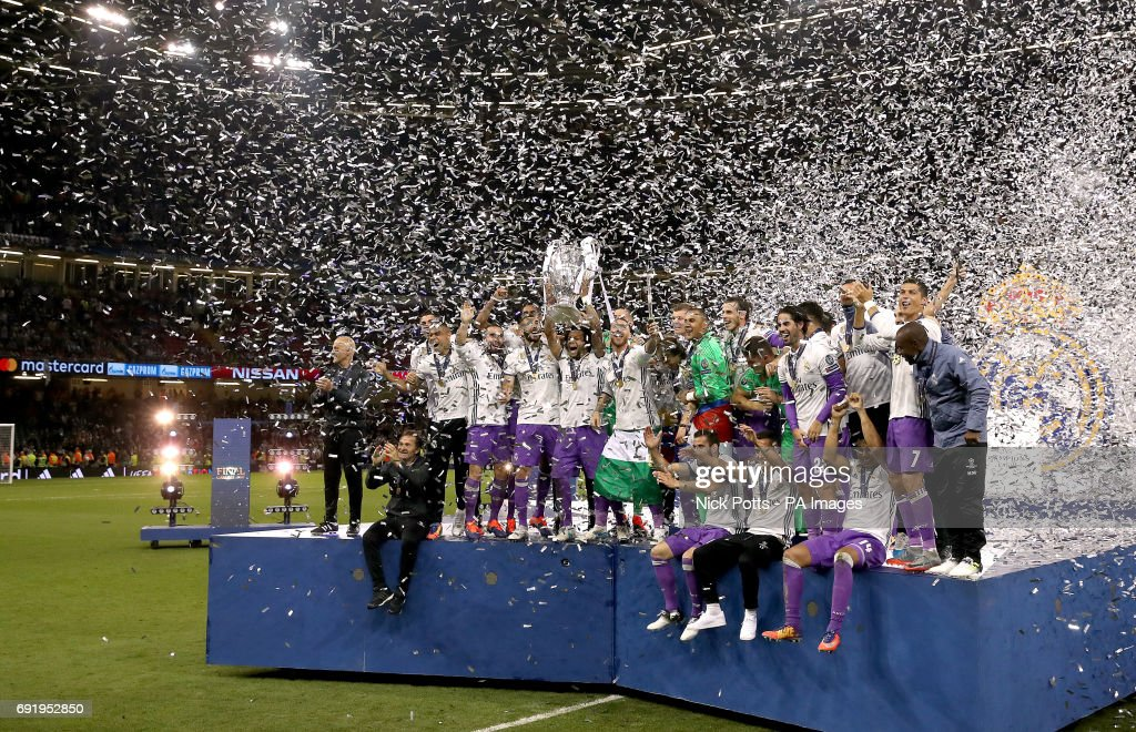 Real Madrid's Marcelo celebrates with the trophy during the UEFA Champions League Final at the National Stadium, Cardiff.