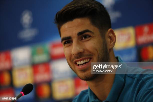 Real Madrid's Marco Asensio attends a press conference in the Cypriot capital Nicosia's GSP Stadium on the eve of the UEFA Champions League football...