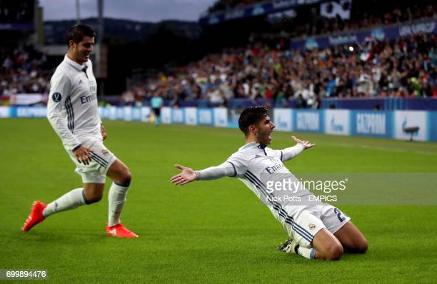 Real Madrid's Marco Asensio celebrates scoring his side's first goal of the game