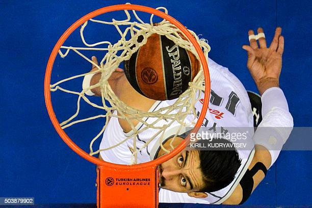 Real Madrid's Mexican center Gustavo Ayon scores a basket during the Euroleague Top 16 group F basketball match between CSKA Moscow and Real Madrid...