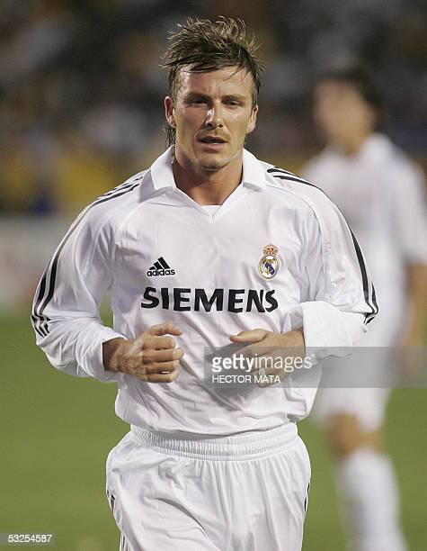 Real Madrid's midfielder David Beckham prepares to get a corner kick against Los Angeles Galaxy during the first half of their friendly football...