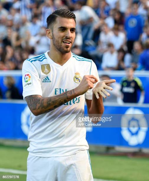 Real Madrid's midfielder from Spain Daniel Ceballos celebrates a goal during the Spanish league football match Deportivo Alaves vs Real Madrid CF at...