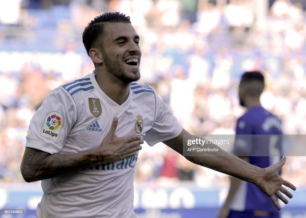 Real Madrid's midfielder from Spain Daniel Ceballos celebrates after scoring his team's secondd goal during the Spanish league football match Deportivo Alaves vs Real Madrid CF at the Mendizorroza stadium in Vitoria on September 23, 2017. /