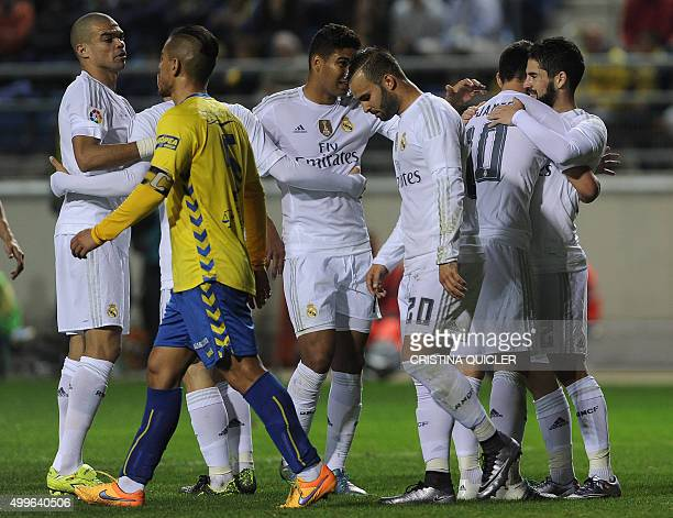 Real Madrid's midfielder Isco celebrates after scoring during the Spanish Copa del Rey football match Cadiz CF vs Real Madrid at the Ramon de...